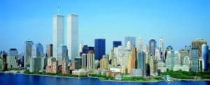 Panoramic view on Twin Towers, New York.