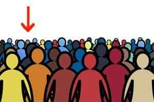 Sketch of multicoloured crowd