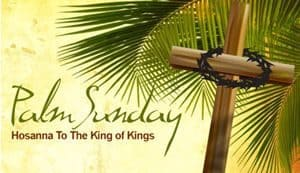 Palm Sunday composite picture: Palms, Cross and Crown of Thorns
