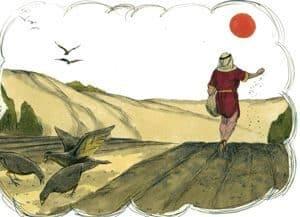 Sketch of man sowing seed