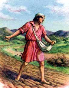 Sketch of man sowing seed