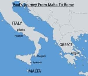 Paul's Journey Malta to Rome