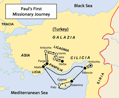 Map: Paul's First Journey
