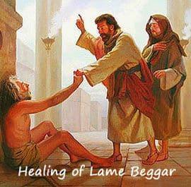 Peter heals lame beggar