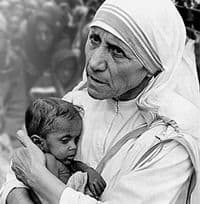 St Mother Teresa holding a child