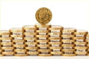 Stack of £1 coins