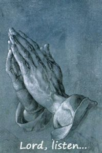 "Hands in prayer with title, ""Lord Listen"""