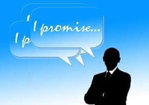 "Silhouette of man and speech bubble saying ""I Promise"""