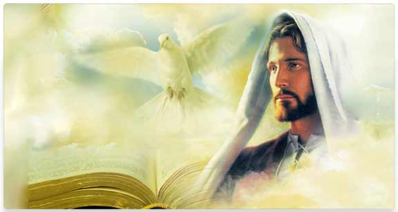 Composite image of Jesus, Dove and Bible