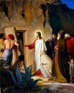 Sketch of Jesus outside Lazarus' tomb.