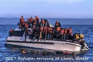 Refugees arrive at Lesvos in 2018