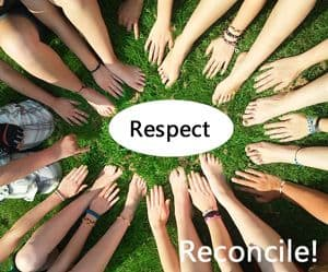 Many hands with Quote: Respect, Reconcile