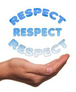 Hand with the word RESPECT above