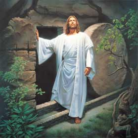 Image showing Jesus in brilliant white standing outside his tomb