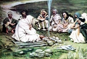 Sketch of the Risen Jesus eating with some of his disciples by the Sea of Galilee