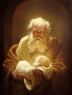 Simeon holding the Baby Jesus