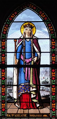 Stain glass window image of St Adelaide