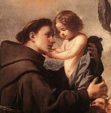 Image of St Anthony holding the Baby Jesus