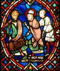 Stained glass depiction of St Blaise