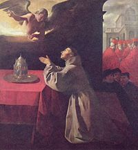Image of St Bonaventure kneeling in prayer