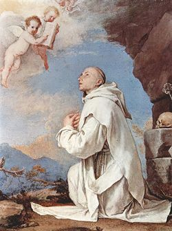 Image of St Bruno of Cologne kneeling in prayer
