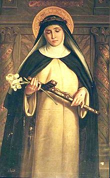 Image of St Catherine of Siena holding a Cross and flowers