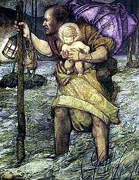 Drawing of St Christopher protecting the Child Jesus in a storm.