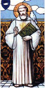 Stain glass window image of St Columbanus