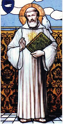 Stain glass window image of St Columbanus