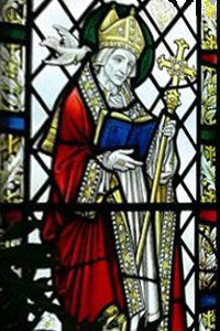 Stained glass window image of St David