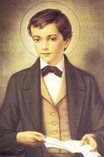 Picture of St Dominic Savio with a book in his hands