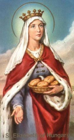 Coloured sketch of St Elizabeth of Hungary.