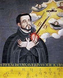 Image of St Francis Xavier with Cross piercing his heart.
