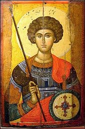 Image of St George holding a shield and a spear
