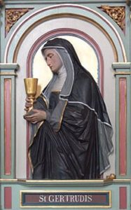 Image of St Gertrude holding a golden chalice.