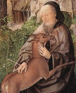 Image of St Giles with a deer wounded by an arrow
