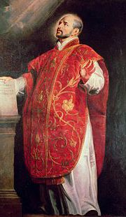 Image of St Ignatius of Loyola in Mass celebration vestments.