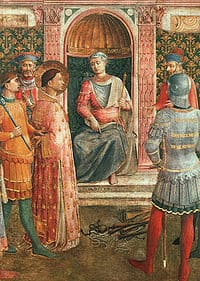 Image of St Lawrence at his trial.