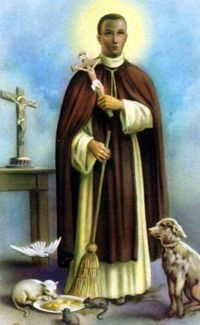 Image of St Martin de Porres holding a Cross and surrounded by animals.