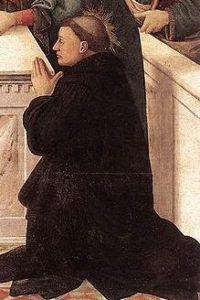 Image of St Peregrine kneeling in prayer.