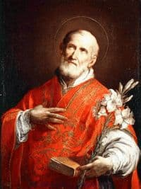 St Philip Neri holding a Bible and Flowers.