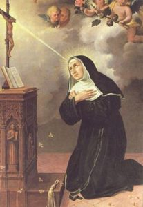 Image of St Rita kneeling in front of a Crucifix and receiving the Crown of Thorns stigmata.