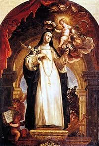 Image of St Rose of Lima being crowned with a ring of flowers.