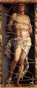 Image of St Sebastion pierced with multiple arrows.