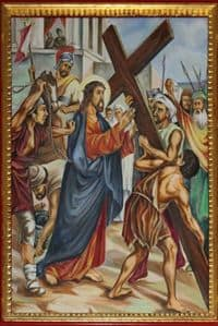 Picture of the Second Station - Jesus receives His Cross.
