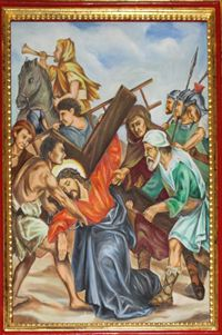 Fifth Station: Simon Helps Jesus to Carry His Cross.