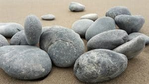 Smooth surfaced stones on beach