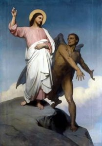 Image of satan asking Jesus to throw Himself from a high mountain