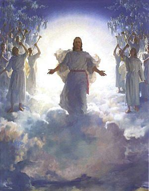 Image of Jesus among the Angels in the clouds