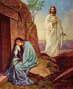 Mary Magdalene crying outside Jesus' tomb